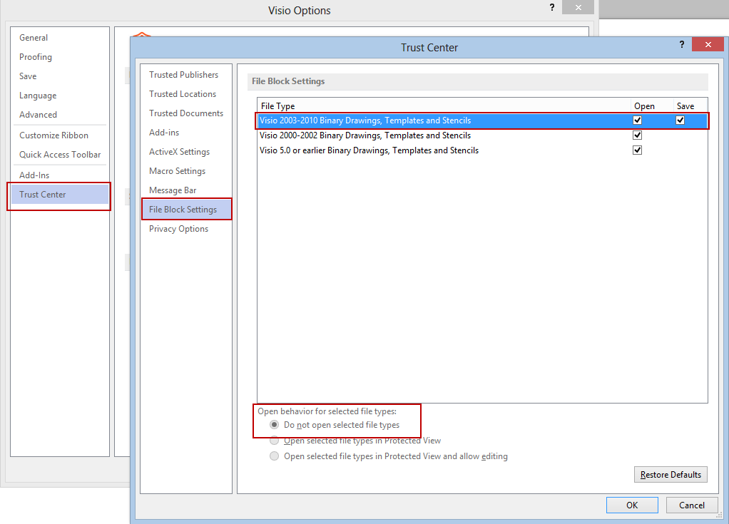 Visio 2013 Trust Center File Block Settings immutable option