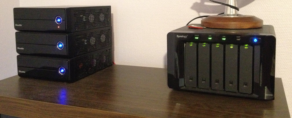 Three Shuttle HX61V with Synology DS1010+