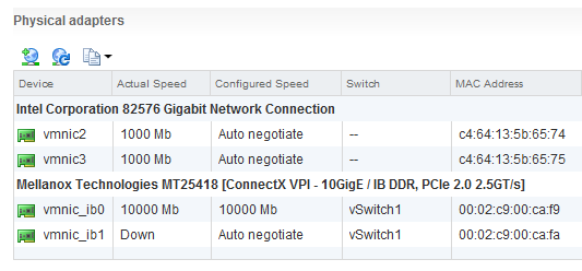 ESXi Network Adapter ConnectX