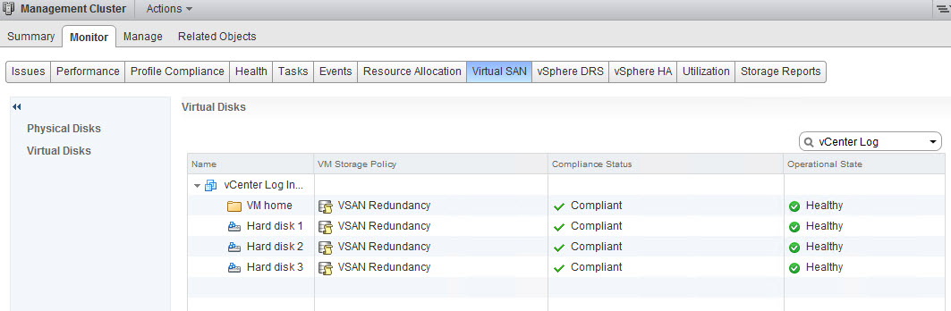 vSphere Web Client vCenter Log Insight VSAN Redundancy