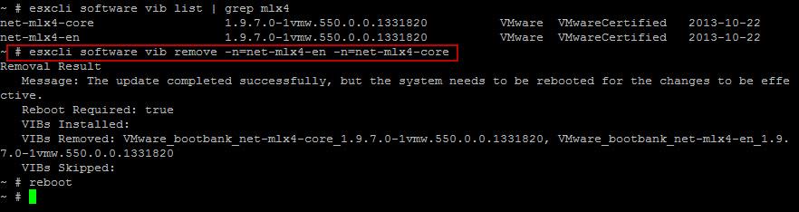 esxcli software vib remove