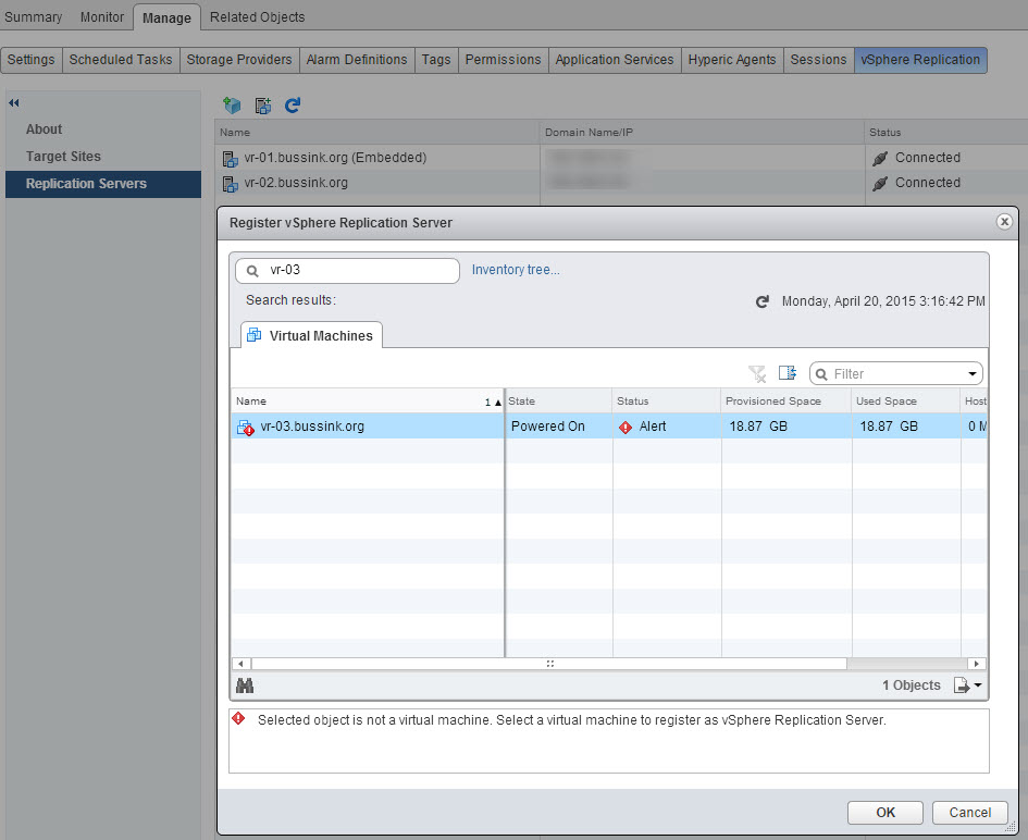 Unable to register vSphere Replication Add-On