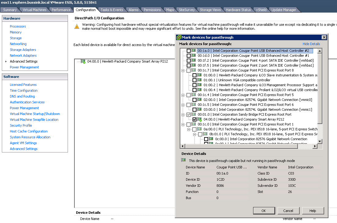 Hp Ml110 G7 And Vt D Directpath I O Configuration Vmware Ft Smart Update Manager Ml110g7 Io