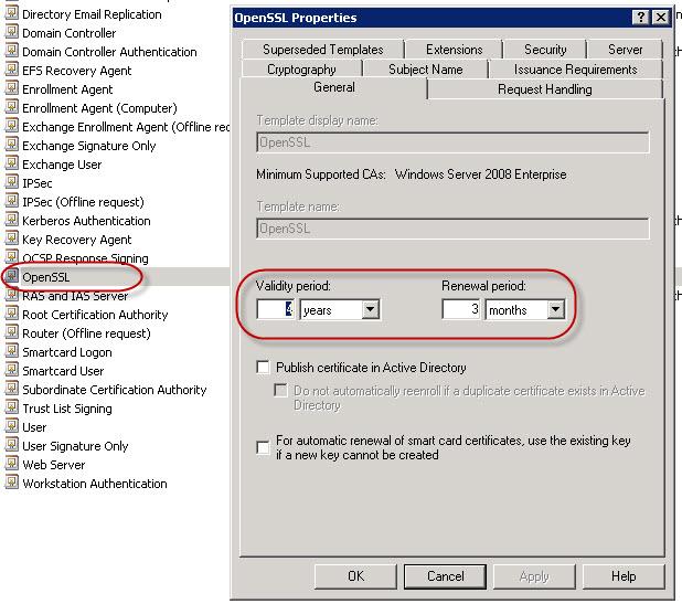 openssl certificate template properties validity period - Certificate Template Renewal Period