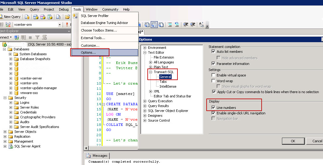 Activating Line Numbering for Transact-SQL