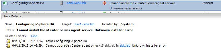 Unable configuring vSphere HA
