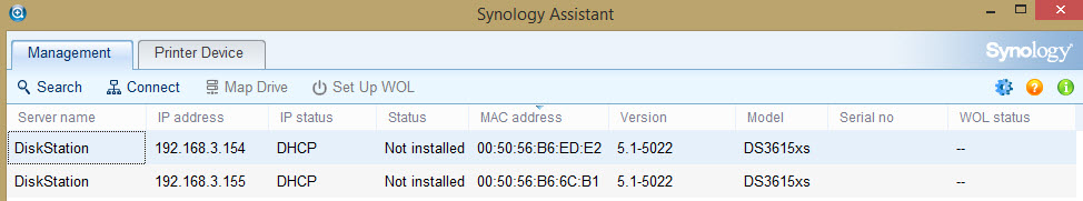 12b - Use Synology Assistant to find new DS3615xs