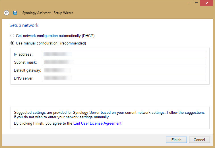18 - Synology Assitant - Final Network settings for eth0