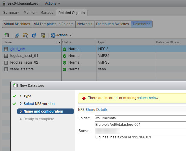 Unable to mount NFS point in vSphere Web Client